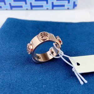 Tory Burch Glossy Cutout Logo Stud Ring